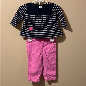 Girls 6 month 2 piece set corduroy Pants & Top
